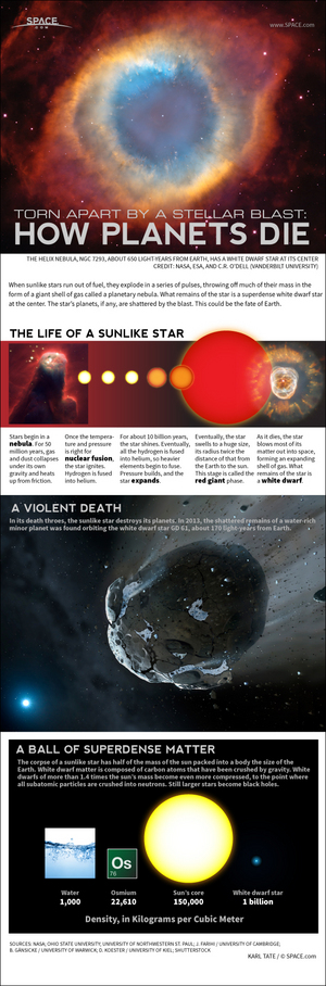 "Sunlike stars eventually become a compact body called a white dwarf, destroying its planets in the process. <a href=""http://www.space.com/23154-death-of-sun-will-destroy-earth-infographic.html"">See how the death of the sun will destroy Earth in this SPACE.com infographic</a>."