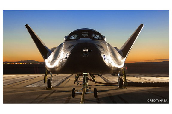 Dream Chaser, a commercial space plane built by Sierra Nevada Corp.'s Space Systems, is seen at NASA's Dryden Flight research Center located inside Edwards Air Force Base in California.