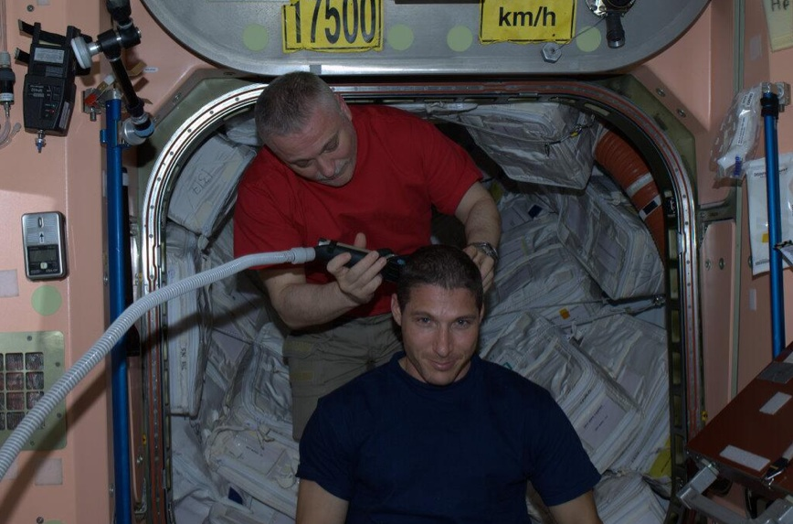 Mike Hopkins Gets Haircut Aboard ISS