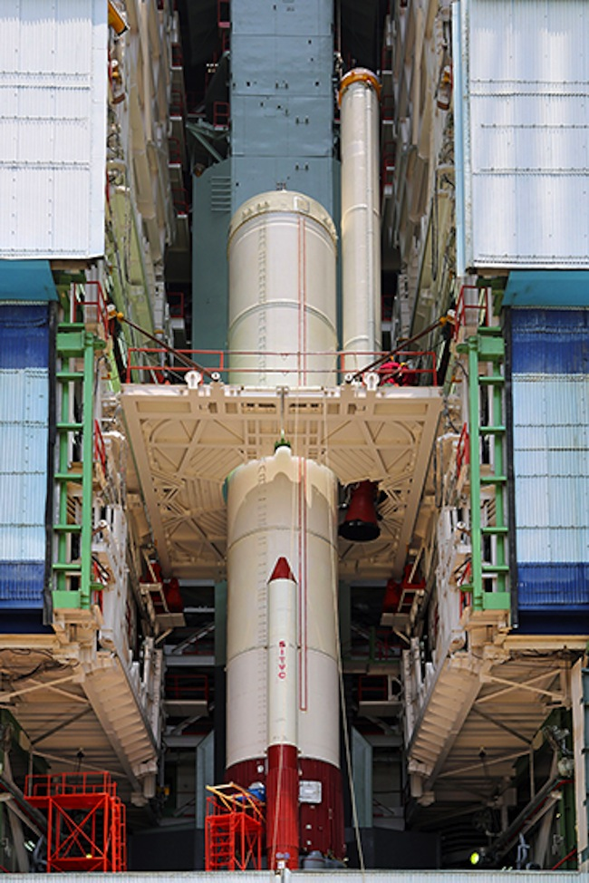 PSLV-C25 Lowered into Position