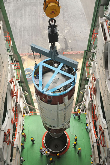 PSLV-C25 Two-Segment First Stage Integration