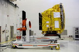India's Mars Orbiter Mission (MOM) probe, or Mangalyaan, is tested prior to launch toward the Red Planet in late October 2013.