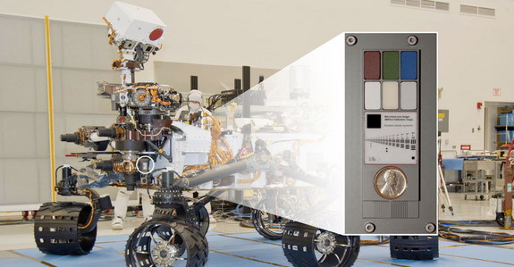 NASA's Curiosity rover with inset showing the calibration targets, including a penny, at the end of its robotic arm.