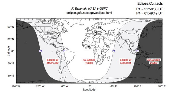 This diagram shows where people will be able to see moon will pass through the Earth's penumbra (shadow) on Oct. 18, 2013.