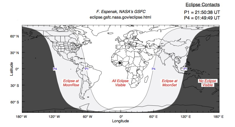 Penumbral Lunar Eclipse of Oct. 18, 2013 Map