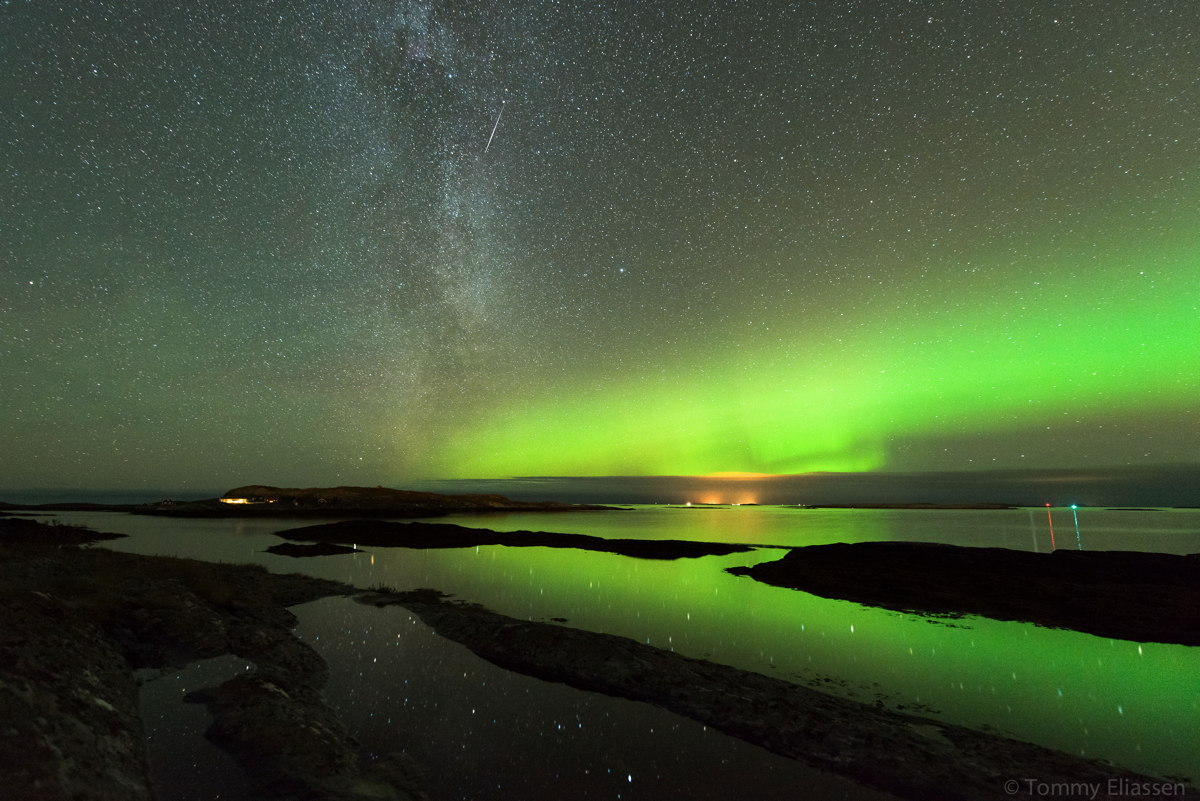 Aurora, Milky Way, and Orionid Meteor Over Norway