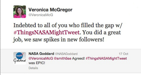A response to the hashtag from @VeronicaMcG, News and Social Media Manager at NASA's Jet Propulsion Laboratory.