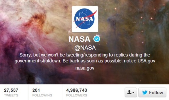 NASA's Twitter account and other public communication efforts at a standstill during the US government shutdown.