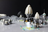 LEGO bricks make up a imagined moonbase.