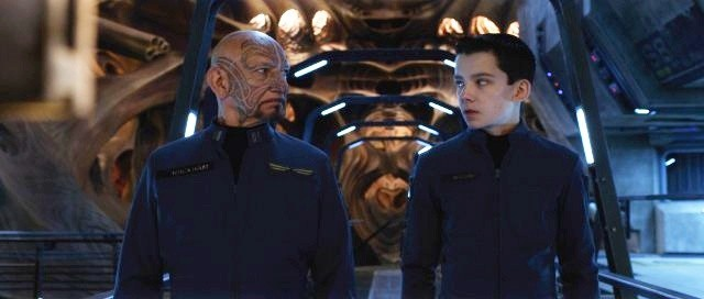 Kingsley and Butterfield in 'Ender's Game' Movie Still