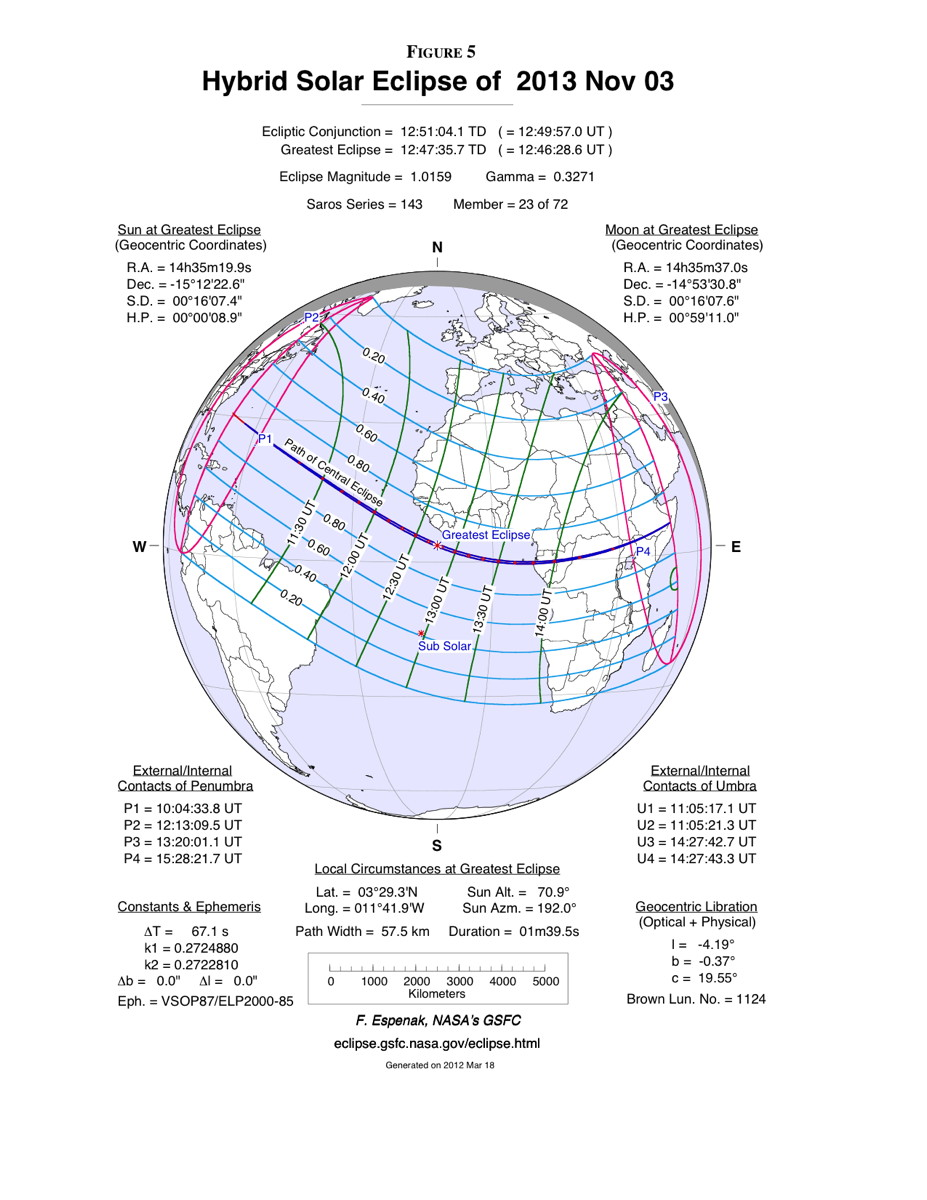 Hybrid Solar Eclipse of Nov. 3, 2013 Map