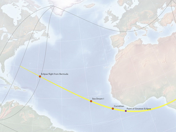 "This map of the Nov. 3, 2013 solar eclipse shows the path of totality and the locations of chase planes and ships to observe the event. This map was created by cartographer Michael Zeiler of <a href=""http://eclipse-maps.com/"">Eclipse-Maps.com</a>."