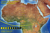 "This map of the Nov. 3, 2013 solar eclipse shows the path of totality and percentage of sun coverage by the moon across Africa. Cartographer Michael Zeiler of <a href=""http://eclipse-maps.com/"">Eclipse-Maps.com</a>."