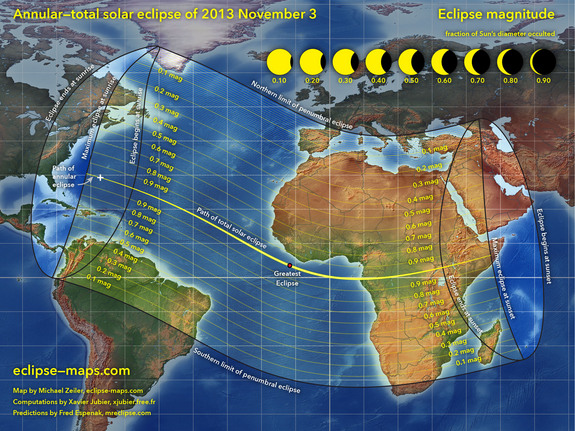 "This overview map of the Nov. 3, 2013 annular and total solar eclipse, a hybrid solar eclipse, shows the path of the event. Cartographer Michael Zeiler of <a href=""http://eclipse-maps.com/"">Eclipse-Maps.com</a> created this map."