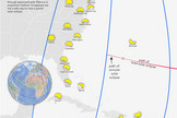 "Cartographer Michael Zeiler of <a href=""http://eclipse-maps.com/"">Eclipse-Maps.com</a> created this map depicting the partial solar eclipse views along the North American East Coast during the Nov. 3, 2013 hybrid solar eclipse."