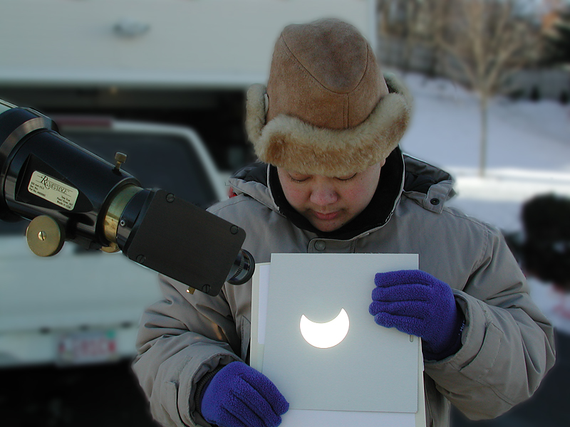 Projecting an Image of the Eclipsed Sun