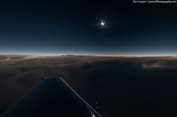 Veteran space photographer Ben Cooper captured this spectacular aerial view of the 2013 total solar eclipse from an eclipse-chasing airplane during the rare hybrid solar eclipse of Nov. 3, 2013. The photo was taken from 43,000 feet over the Atlantic Ocean aboard a 12-person Falcon 900B jet chartered from Bermuda.