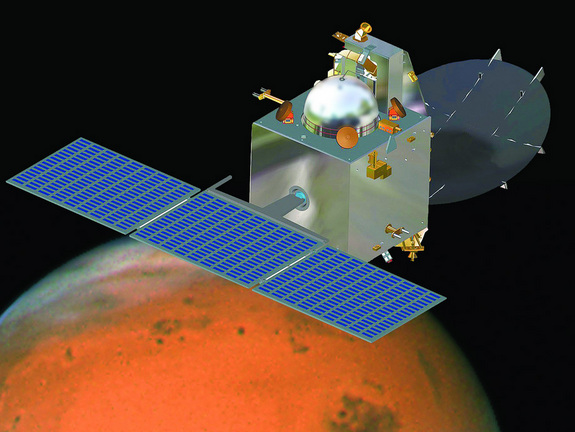 An artist's illustration of India's Mars Orbiter Mission spacecraft, called Mangalyaan, launching in November 2013.
