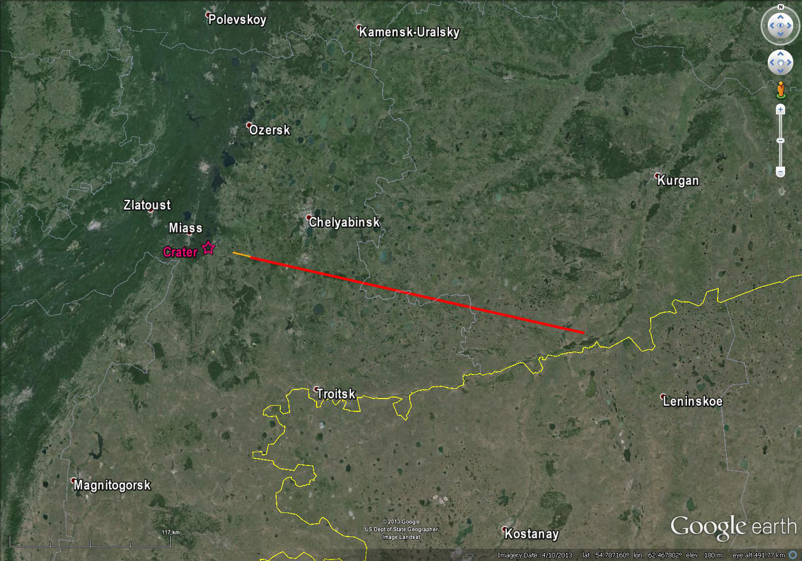 Russian Meteor Explosion: Trajectory