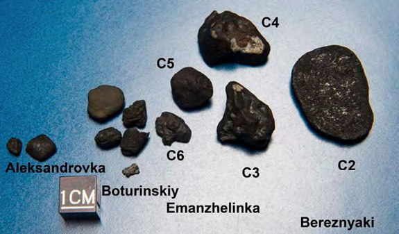 Fragments of Chelyabinsk (C2 - C6) analyzed in this study. Find locations are marked. C2 is an oriented meteorite; it travelled with its flat side forward. Its backside is shown. Image released Nov. 6, 2013.