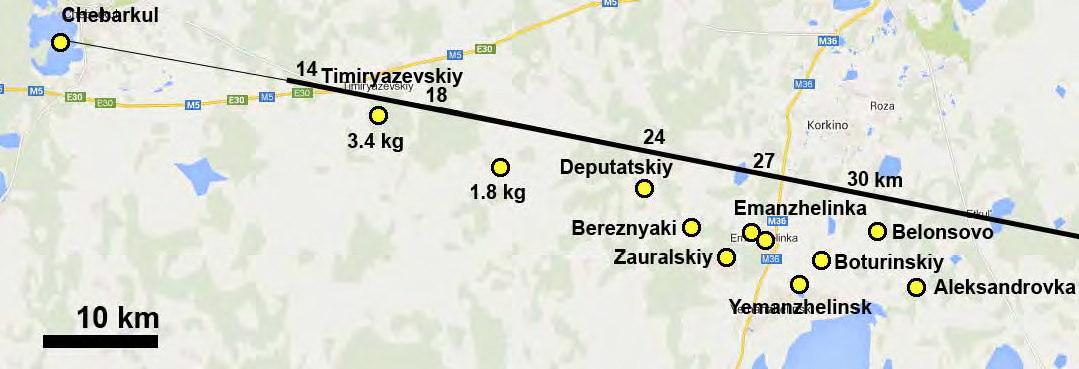 Locations of Chelyabinsk Meteorite Finds