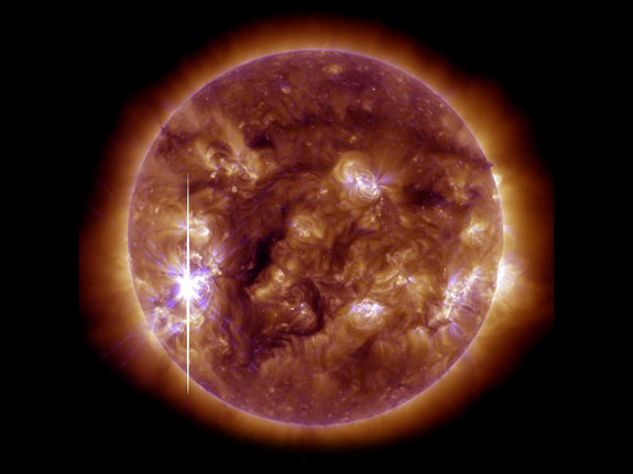 NASA's Solar Dynamics Observatory captured this image of an X3.3-class solar flare that peaked at 5:12 p.m. EST on Nov. 5, 2013. This image shows light blended from the 131 and 193 wavelengths.