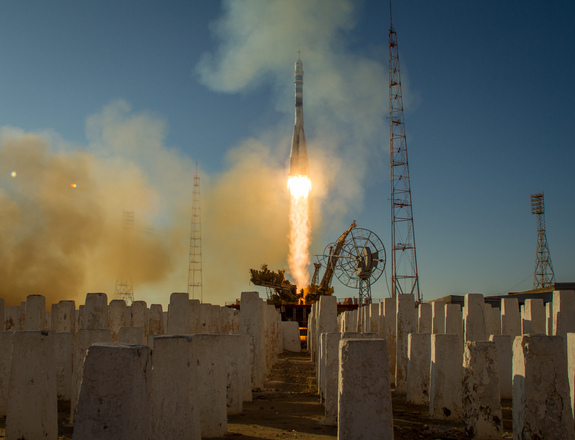"The Soyuz TMA-11M rocket is launched toward space carrying the Olympic torch for the 2014 Sochi Winter Olympics and the new Expedition 38 crew for the International Space Station on Nov. 7, 2013, at the Baikonur Cosmodrome in Kazakhstan. [<a href=""http://www.space.com/23498-olympic-torch-space-station-crew-launch.html"">Read the Full Launch Story Here</a>]"