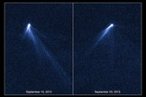 Named P/2013 P5, this object is the first body in the asteroid belt to be spotted with multiple tails. The tails seem to have swung around in the time between the initial images taken by the Hubble Space Telescope on Sept. 10, 2013 and the second observations on Sept. 23, 2013.