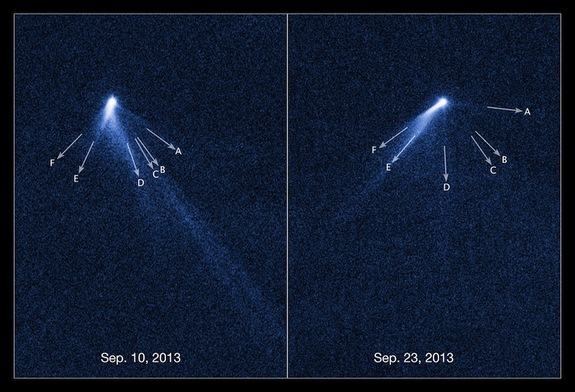 This labeled view of asteroid P/2013 P5 shows clearly how its appearance changed in the course of just 13 days.