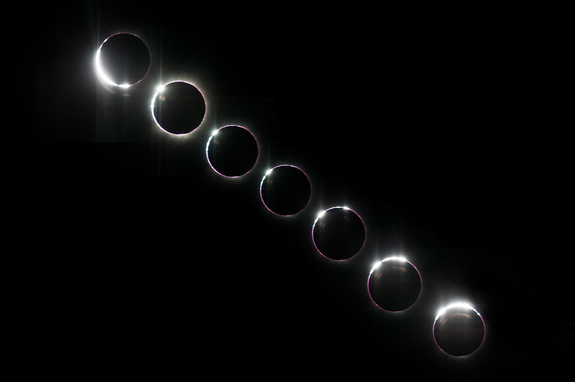This composite photo sequence shows the progression of Bailey's Beads and the diamond ring as our aircraft intercepted the eclipse over the Atlantic.