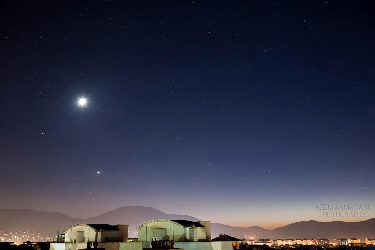 Moon and Venus Over Kosovo