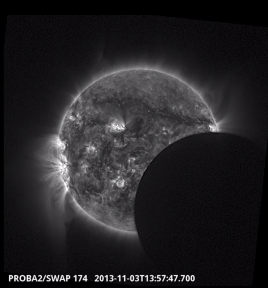 November 2013 Hybrid Solar Eclipse Seen by Proba-2 Satellite