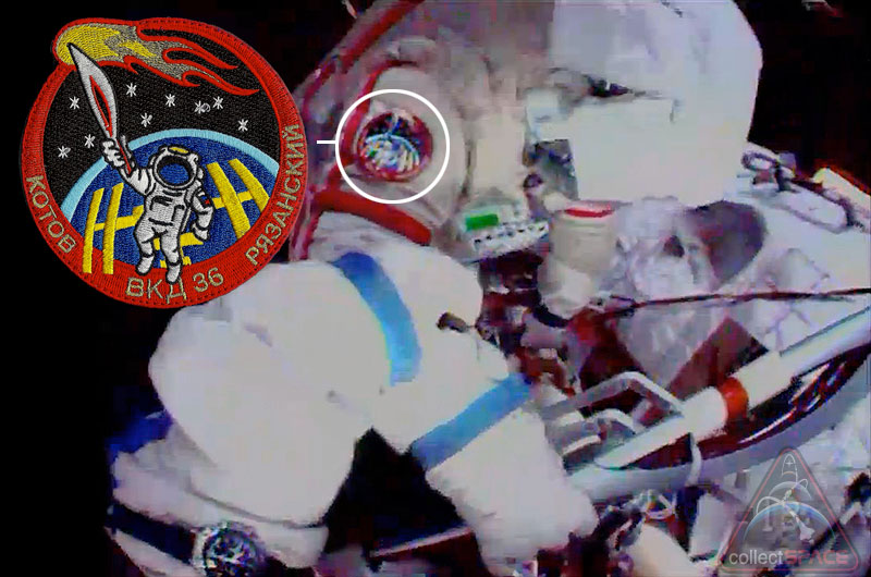 Cosmonauts Wore Special Space Patch for Olympic Torch Spacewalk