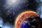 Artist's depiction of a nearby Gamma Ray Burst impact with Earth. A brown cloud of nitrogen dioxide forms as a result of the high-energy photons interacting with the air.