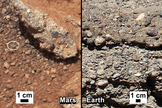 In 2013, NASA's Mars Curiosity rover found evidence of an ancient streambed. At left are the rocks it observed, compared with analogs on Earth.