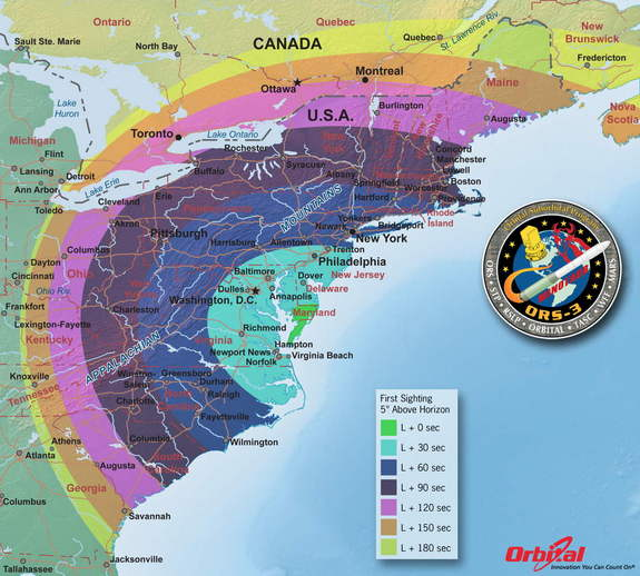 The ORS-3 mission is scheduled to occur on November 19, 2013, with a planned launch window from 7:30 - 9:15 pm EST. This map shows how visible the launch will be on the East Coast.