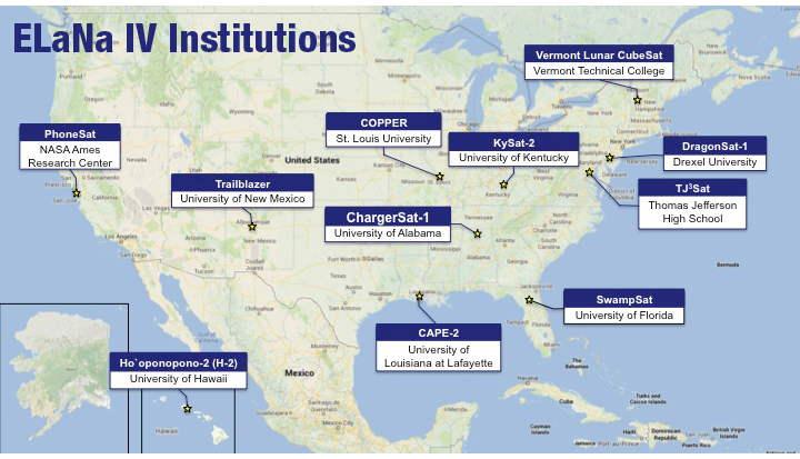 ELaNa IV CubeSats Institutions Map