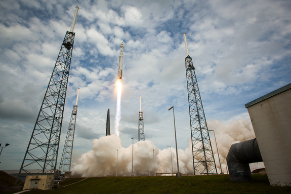 The Atlas V rocket with NASA's Mars Atmosphere and Volatile EvolutioN (MAVEN) spacecraft took off from the Cape Canaveral Air Force Station Space Launch Complex 41, on Nov. 18, Cape Canaveral, Fla.