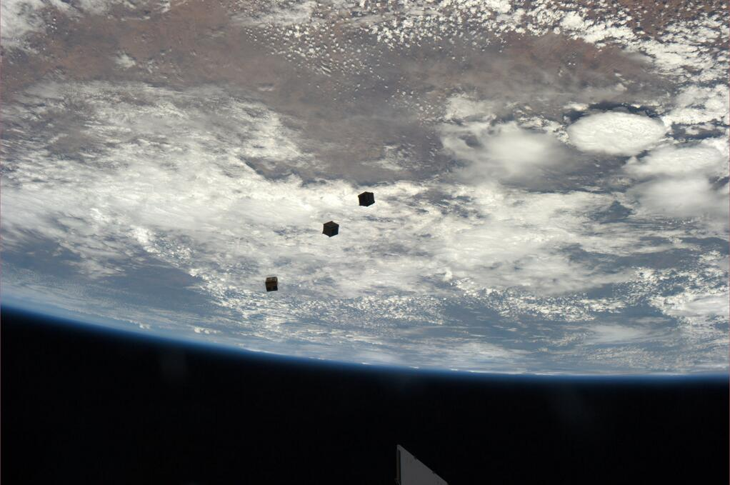 Mastracchio Snaps Spectacular Photo of Satellites After Deployment from ISS