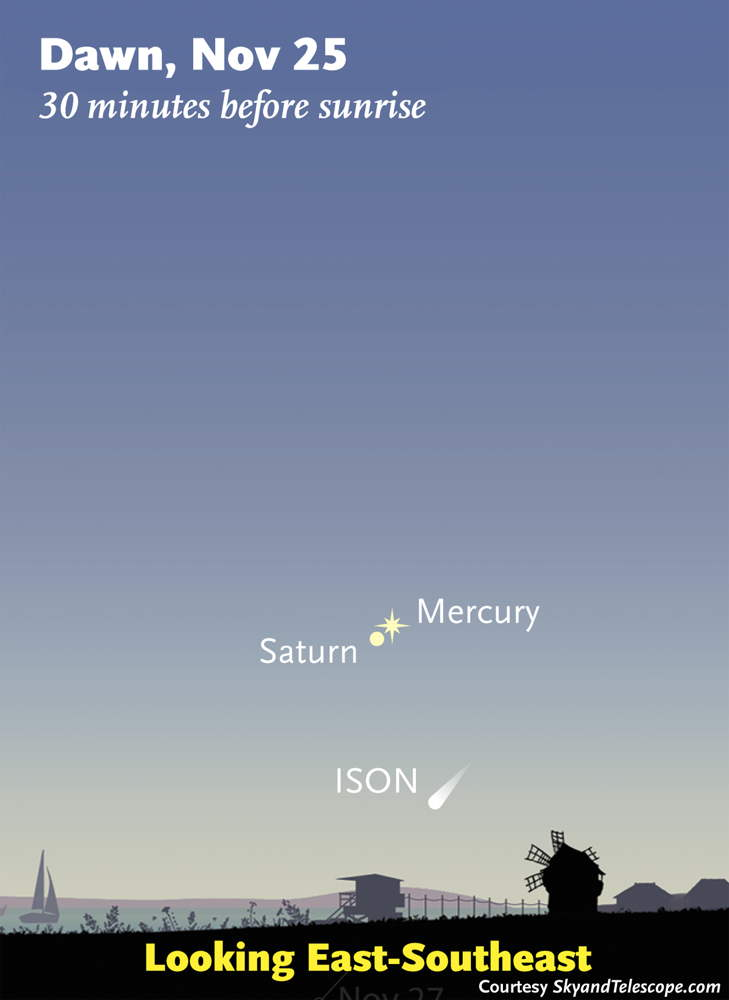 Comet ISON Nov. 25, 2013, Sky Map