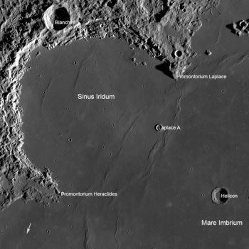 Sinus Iridum area of the moon. It is likely that China will land a rover near Laplace A crater. Arrow shows location of Soviet Lunokhod 1 rover.