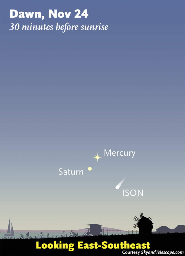 Comet ISON Nov. 24, 2013, Sky Map