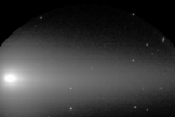 Optical image of the structures surrounding the nucleus of the Comet ISON, captured by FOCAS mounted on the Subaru Telescope. This image was taken in the early morning of Oct 31, 2013 in V-band (550 nm) with an exposure time of 5 seconds. The field of view is about 6 x 3 arcminutes.
