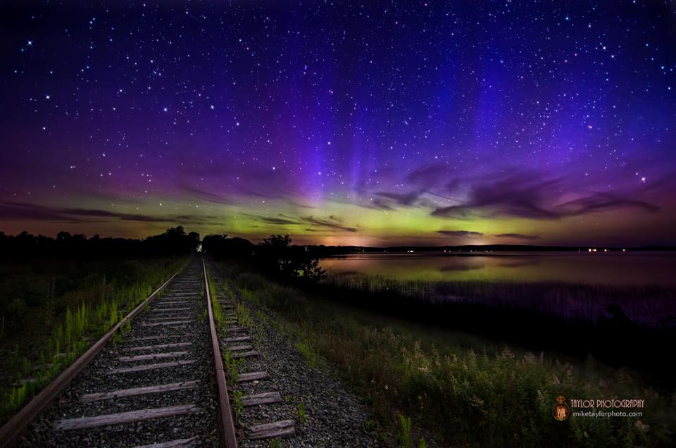 Aurora Borealis Dances Over Unity Pond Train Tracks