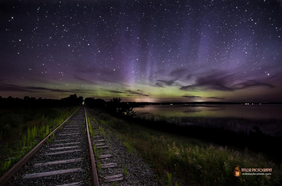 Aurora Borealis Dances Over Unity Pond Train Tracks: Modified