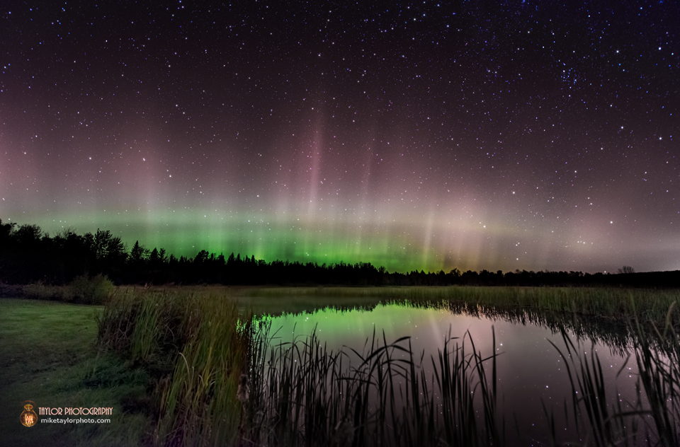 Aurora Borealis Arc Covers Night Sky Over Pond: Modified