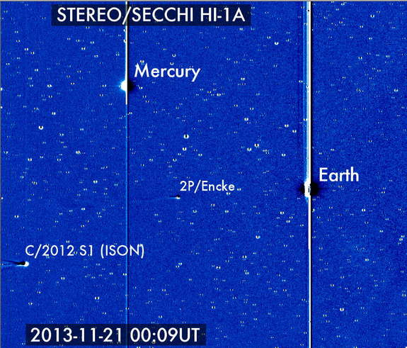 Comet ISON entered the view of NASA's Solar Terrestrial Relations Observatory on Nov. 21, 2013, where it can be seen with Earth, Mercury and comet 2P/Encke.
