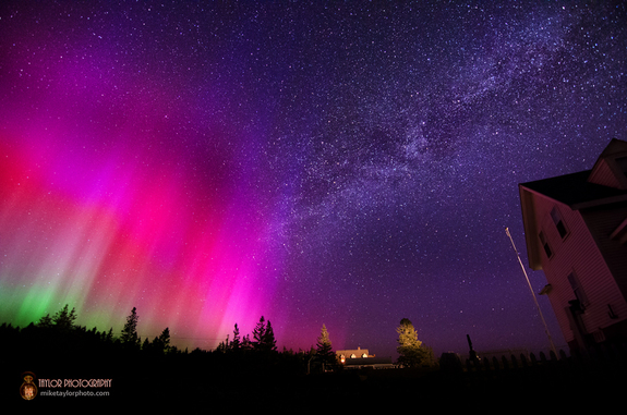 "When photographer Mike Taylor captured this image, he saw ""dancing lights"" in the sky that waved a bit like curtains."