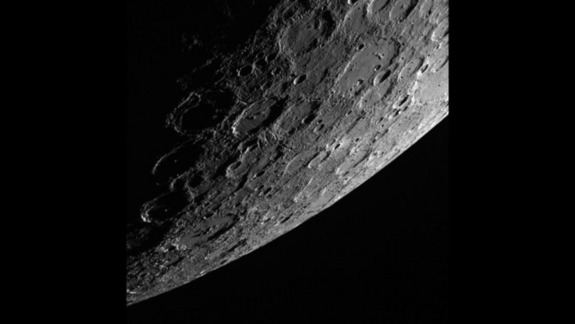 The sunlit side of Mercury, photo taken October 2013 by the Messenger spacecraft.