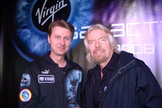 Danish entrepreneur and financier Per Wimmer poses with the founder of Virgin Galactic, Sir Richard Branson.